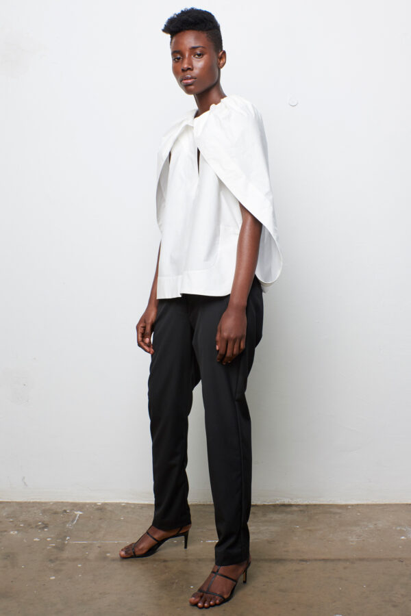 Gathered Cape Top White