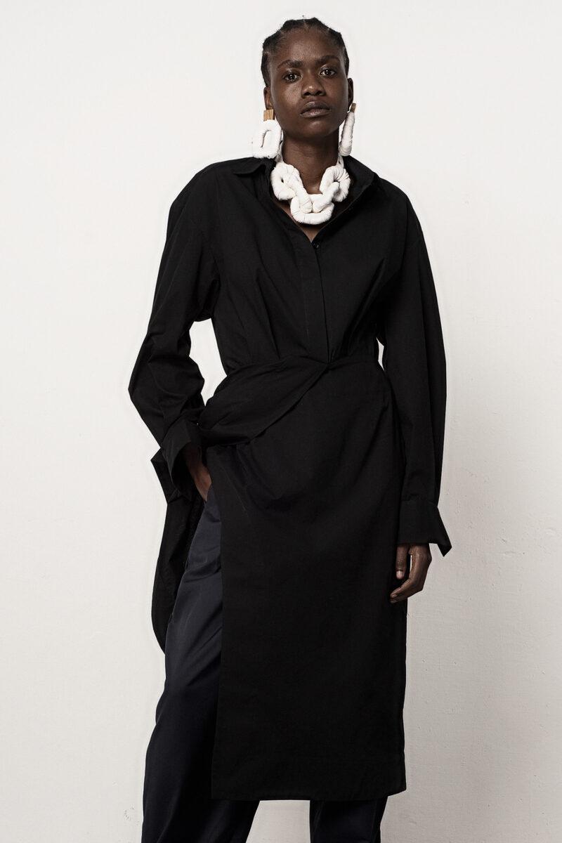 Draped Waist Shirt Dress