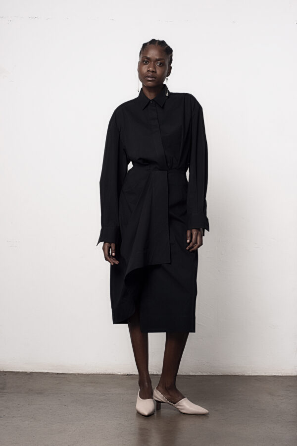 Draped Waist Shirt Dress