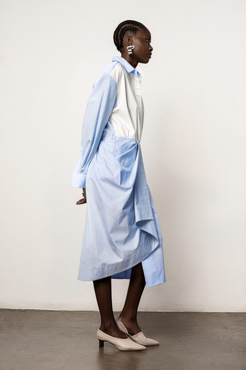 Fabric Block Shirt Dress
