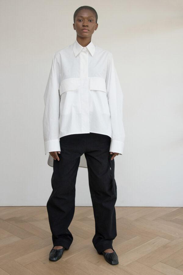 Oversized Shirt with Flap Pockets (White)