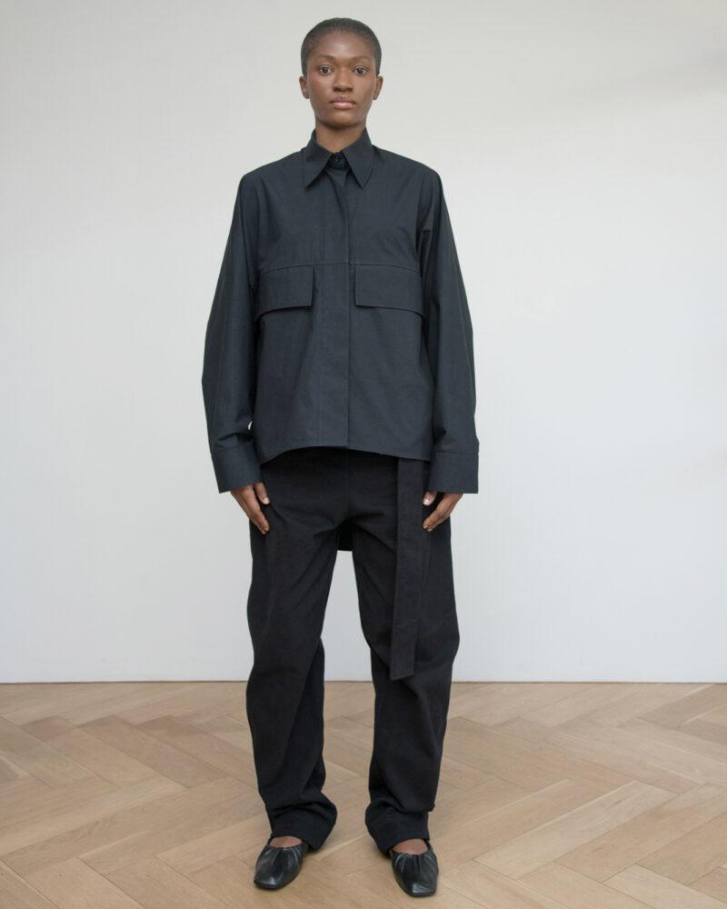 Oversized Shirt with Flap Pockets (Black)