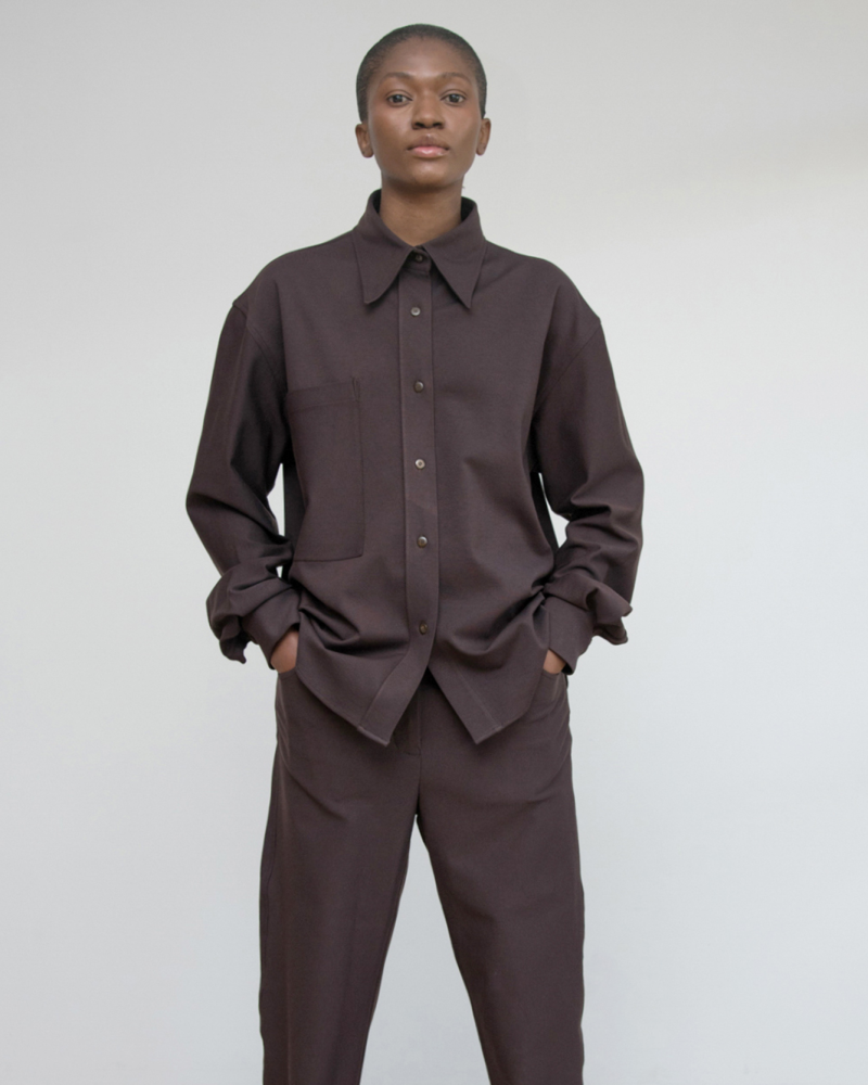Relaxed Ponte Shirt with Patch Pocket