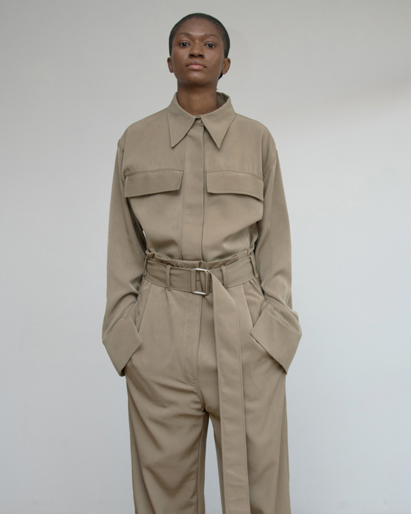 Wool Blend Shirt with Flap Pockets